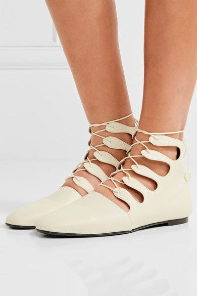 The Row - Dimitri Lace-up Leather Ankle Boots - Neutral - IT36