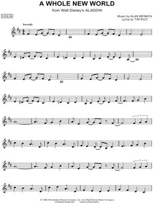 """""""A Whole New World"""" from 'Aladdin' Sheet Music (Violin Solo)"""