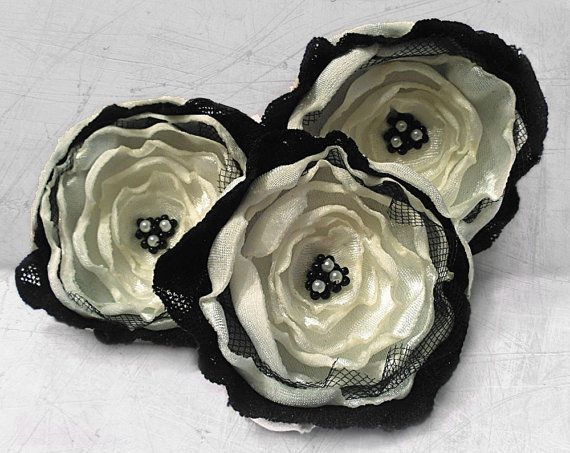 3 Big handmade ivory and black fabric flowers - wedding flowers, sew on appliques, wedding decoration via Etsy