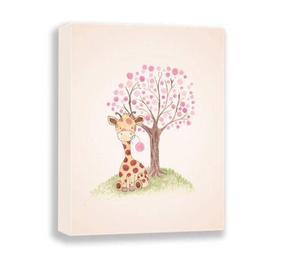 Giraffe illustratie - Canvas kwekerij Art - PRINT - Baby Girl - aquarel - Decor van de kwekerij van het meisje - kunst voor kinderen - G502 afdrukken