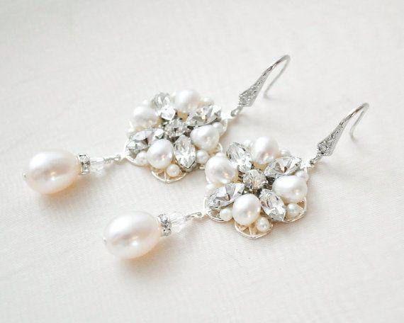 Pearl Chandelier Earrings Art Deco Bridal by SarahWalshBridal