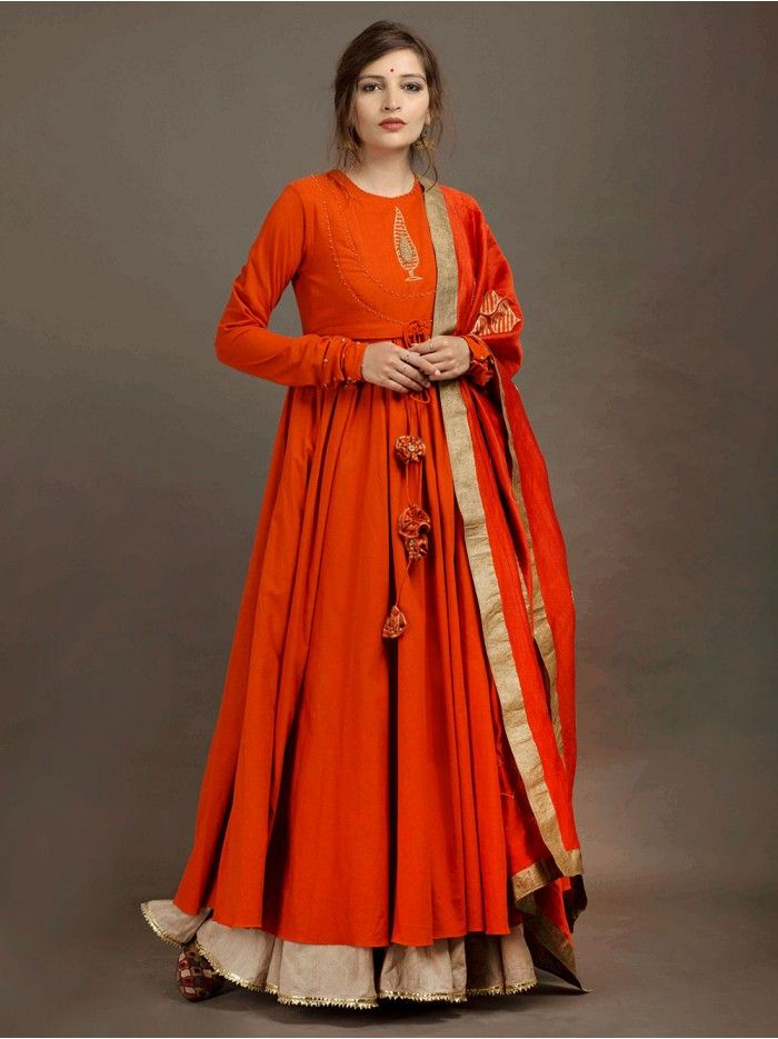 Orange Chanderi Hand Block Printed Dupatta