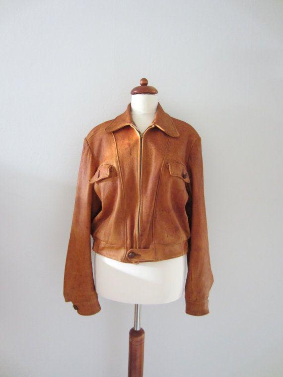 40s Deerskin Leather Jacket, M