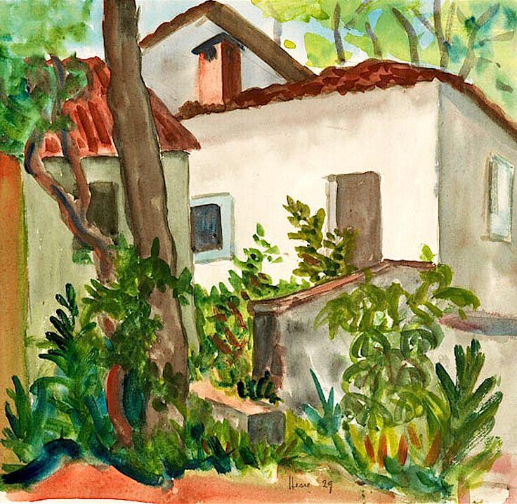Hermann Hesse 1877 Calw - 1962 Montagnola Schweiz Häusergruppe. 1929.