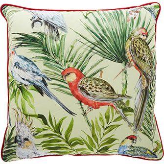 Multicoloured Bird Print Cushion 50x50cm