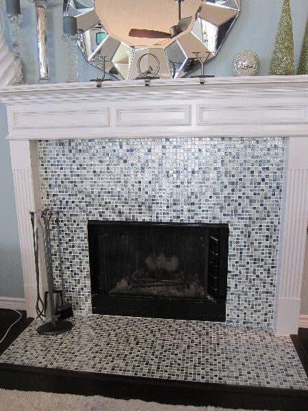 fireplace remodel with glass tile fort worth