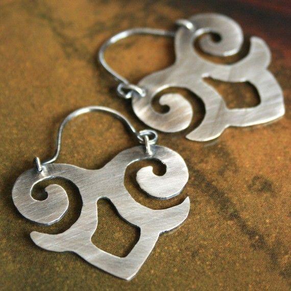 hand cut sterling earrings