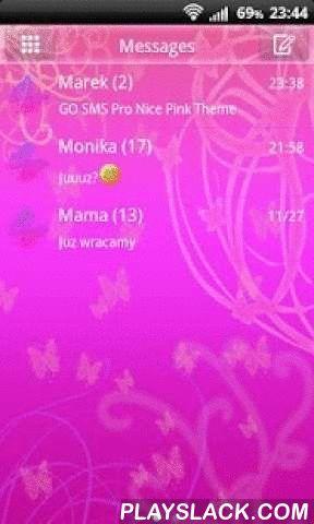 Nice Pink Theme For GO SMS Pro  Android App - playslack.com ,  De leukste thema is ooit nu beschikbaar voor uw smartphone. Het bevat een zeer mooi gekleurde roze en violette achtergrond met de helft van transcendente vormen, wervelingen en vlinders. Plain, saaie boodschap dozen werden vervangen door een uitstekende, coole frames vol levendige kleuren. Compleet nieuwe vorm en leuke kleuren en nog meer - zoete, kleurrijke vlinders vliegen rond elk bericht. Is het niet schattig?Vlinders zijn…