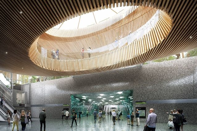 Updated designs for the stations along Melbourne's Metro Tunnel by Hassell and British transportation specialist Weston Williamson have been released.