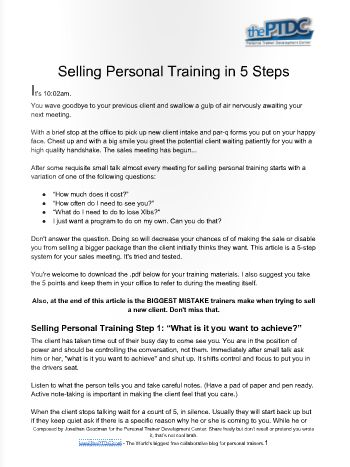 Selling Personal Training in 5 Steps | How to Sell Personal Training Services