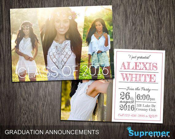 Graduation Announcements Templates - Graduation Card Templates - Senior Graduation Templates - Photography Photoshop Templates PSD GT001