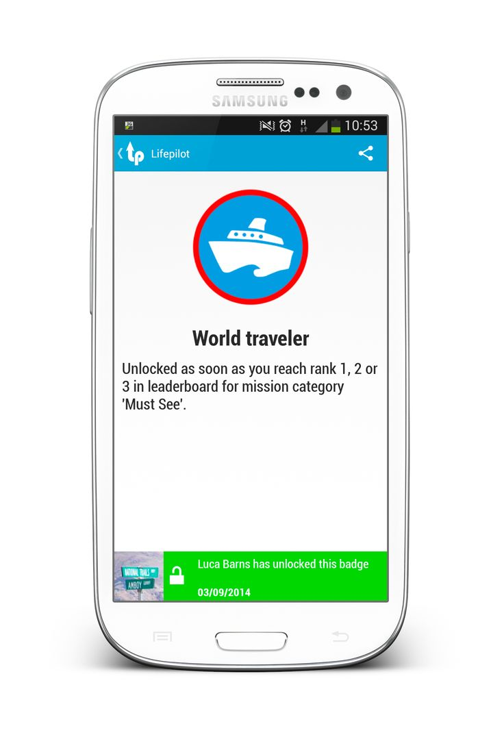 Badge 'World Traveler' - Screenshot from Lifepilot Bucket List App (www.lifepilot.me)