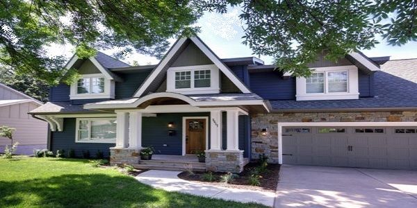 House Design Exterior with Dark Navy Blue Color