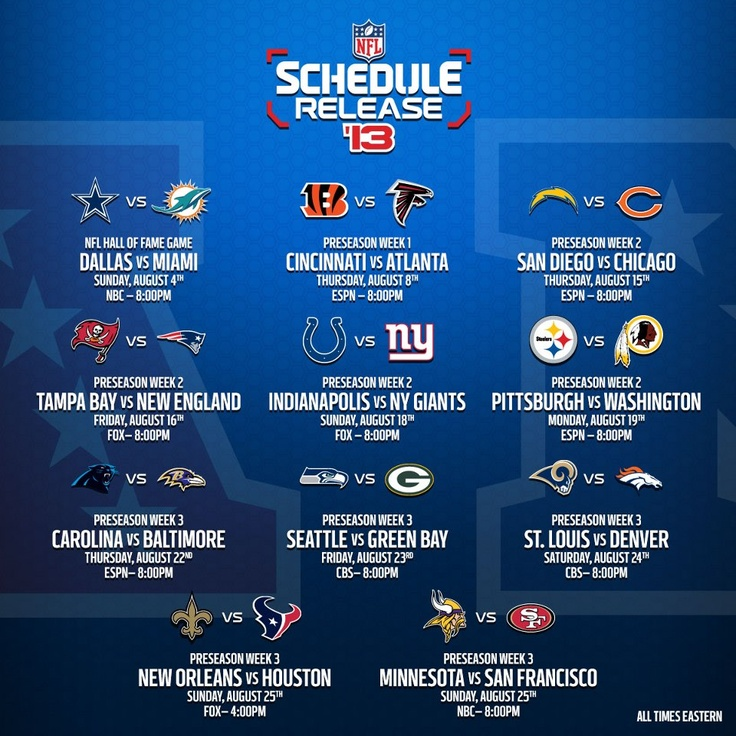 2013 NFL Pre-season schedule is out!  Hooray!!!