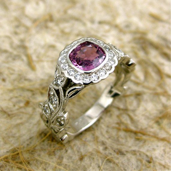 Officially in love with this etsy shop!  They have a bunch of gorgeous rings! Hand Crafted Square Cushion Cut Purple Sapphire Leaf & Vine Engagement Ring in Platinum with Diamonds and Antiquing