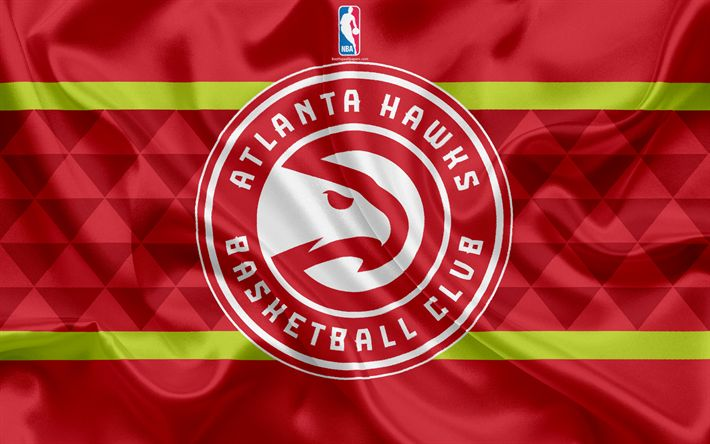 Download wallpapers Atlanta Hawks, Basketball Club, NBA, emblem, logo, USA, National Basketball Association, Silk Flag, Basketball, Atlanta, Georgia, US Basketball League, Southeast Division