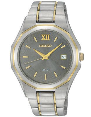 Seiko Solar Mens Watch - Charcoal Dial - Stainless w/ Gold-Tone - Date Window