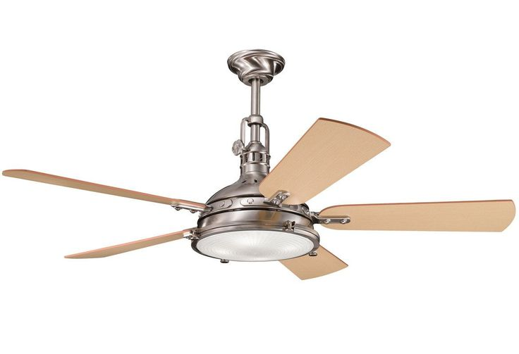 """Kichler Hatteras Bay 56"""" Indoor Ceiling Fan with 5 Blades - Includes Cool-Touch Remote, Light Kit and 12"""" Downrod - LightingDirect.com"""
