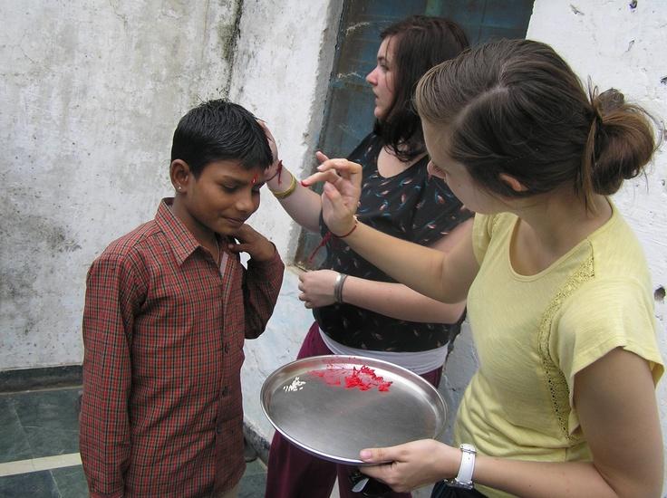 Day 4: Julie (Basti Ram) applying a Tikka to celebrate Raksha Bandhan 2012
