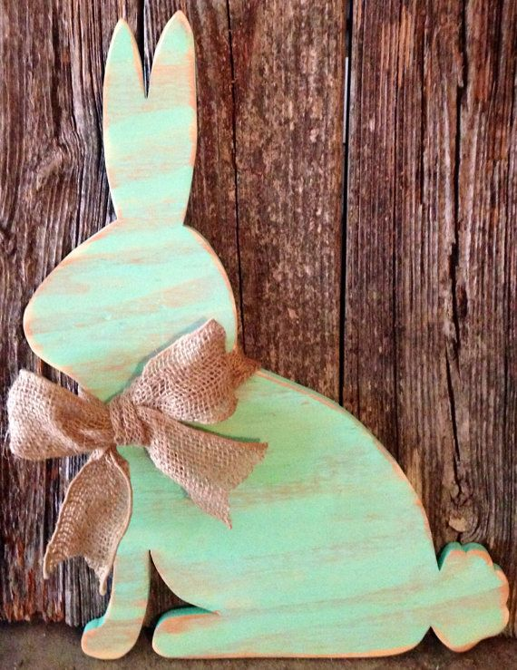 Teal distressed wood bunny rabbit wood sign Easter removable burlap bow on Etsy, $26.00