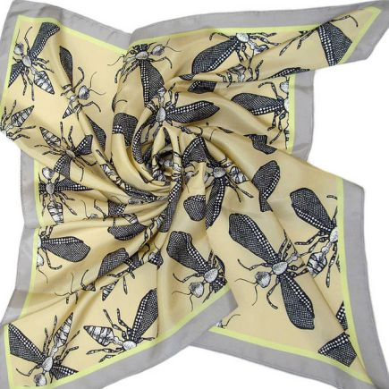 Wild Wasp Large Silk Scarf - Craig Fellows - Crumbs and Petals Insect Hair Accessories