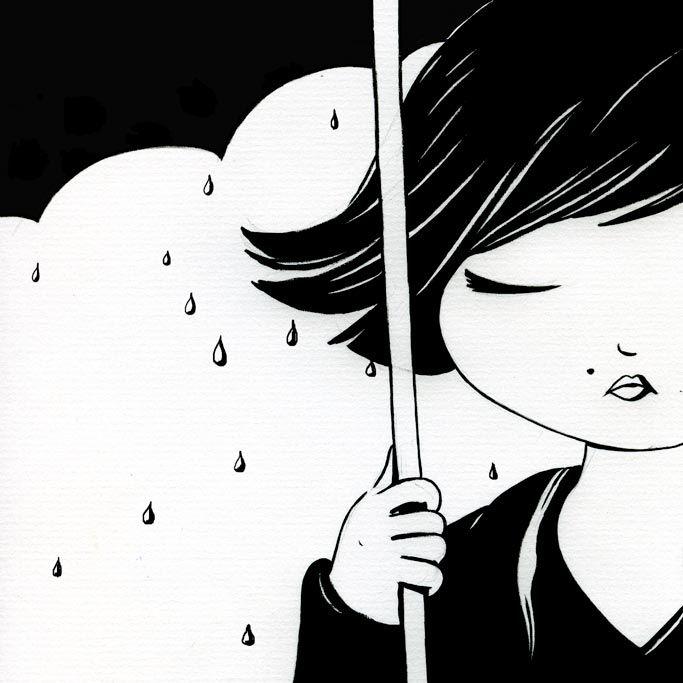 d'après une photo d'Audrey Tautou, à l'encre de Chine, sous la pluie