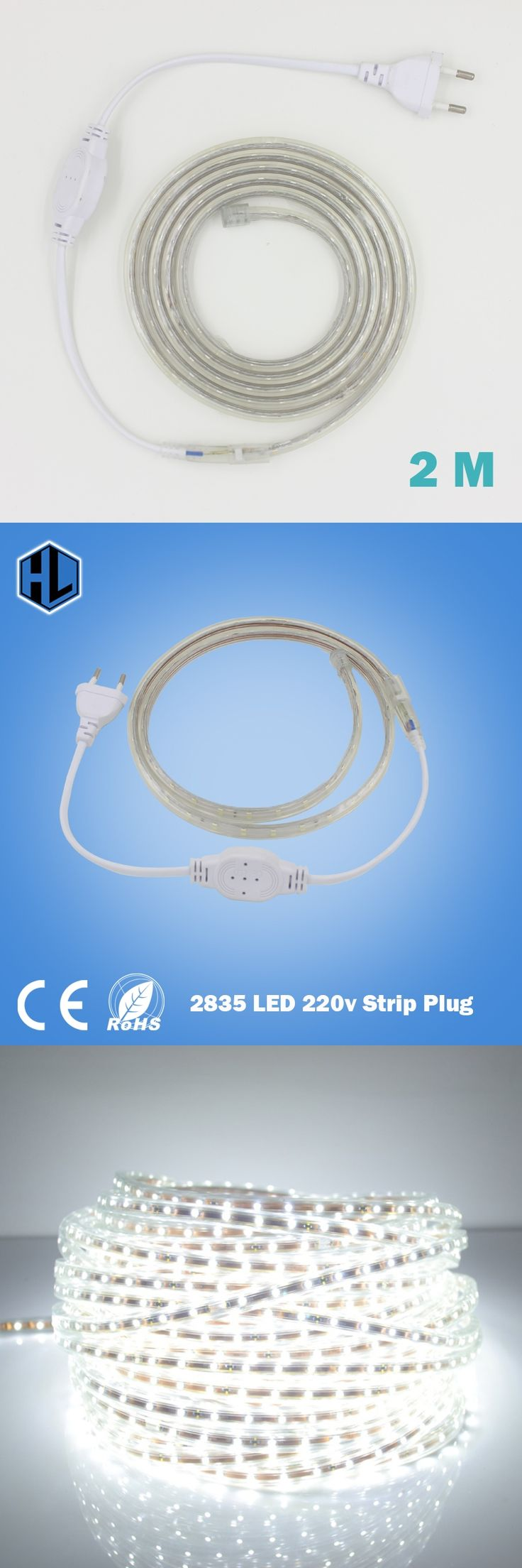 2M 220V High Voltage 2835 Led Strip Flexible Light+EU Power Plug, Warm/Cold White RGB Strip Diode Tape Waterproof LED Strip