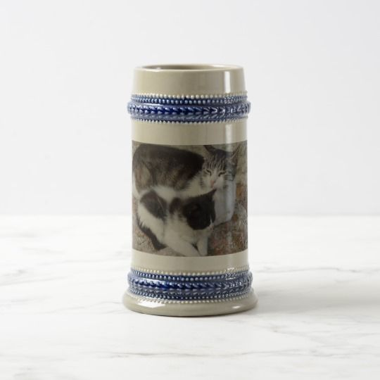 Mother & Kid Gray /Blue 22 oz Stein #zazzle #Mother #Kid #Gray #Blue #22oz #Stein #cat #kitten #gift #giftidea #beer