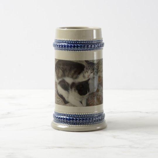Mother & Kid Gray /Blue 22 oz Stein #zazzle #Mother #Kid #Gray #Blue #22oz #Stein #cat #kitten #gift #giftidea #beer