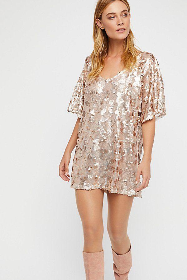 7714cd5ca845f Sequin T-Shirt Mini Dress | Let's Shop | Mini shirt dress, Sequin t ...