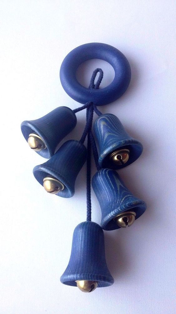 Aarikka Finland Vintage Wooden Wall Decoration Blue Bells #Aarikka