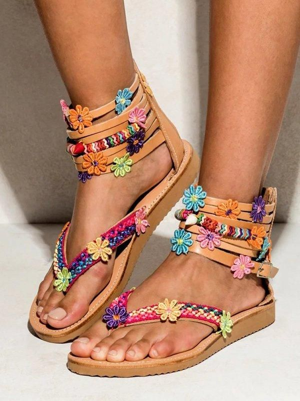 Femme Multi Perles Boho Été Sandale Espadrille Compensé Sandales Femmes Taille