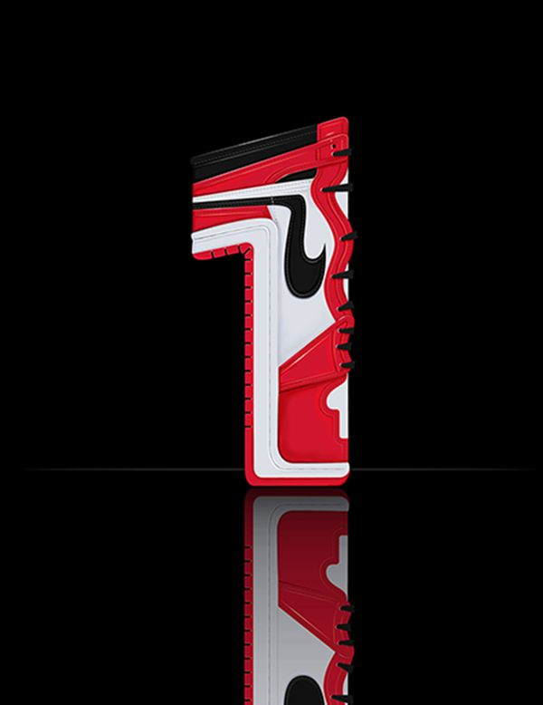 """JORDAN ILLUSTRATED SNEAKER FONT    This project was inspired by the Jordan Retro Card, and my personal favorite Jordan sneaker the Jordan 4 """"Fire Man"""". I find it interesting that the Jordan Branddoes not name their Jordan sneakerreleases, but rather just ascribes a sequential number to them.I wanted to create an illustrated type based off ofthe number of the sneaker release, combined with the actual sneaker itself. As a sneaker head, this was a veryexciting and fun project to work on."""
