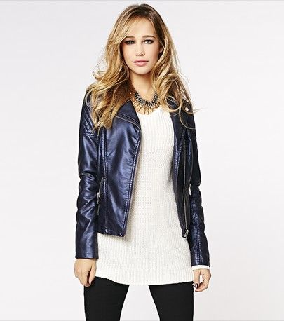 Dazzle in this metallic blue perfecto jacket this party season! #DYNHOLIDAY.