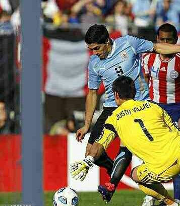 Uruguay 3 Paraguay 0 in 2011 in Buenos Aires. Luis Suarez scores after 11 minutes and Uruguay lead 1-0 in the Final of Copa America.