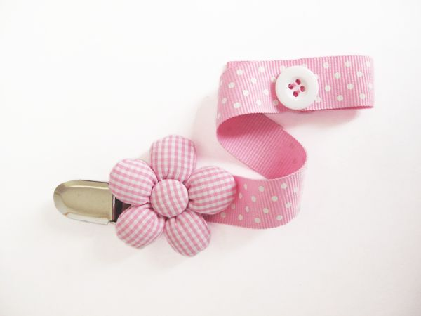 Pacifier holder - Pink white dots