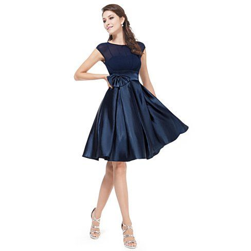 Navy Blue Knee Length Dress With Sleeves, Navy Blue Bowtie Round Neck Ruffles Satin Women Cocktail Dress