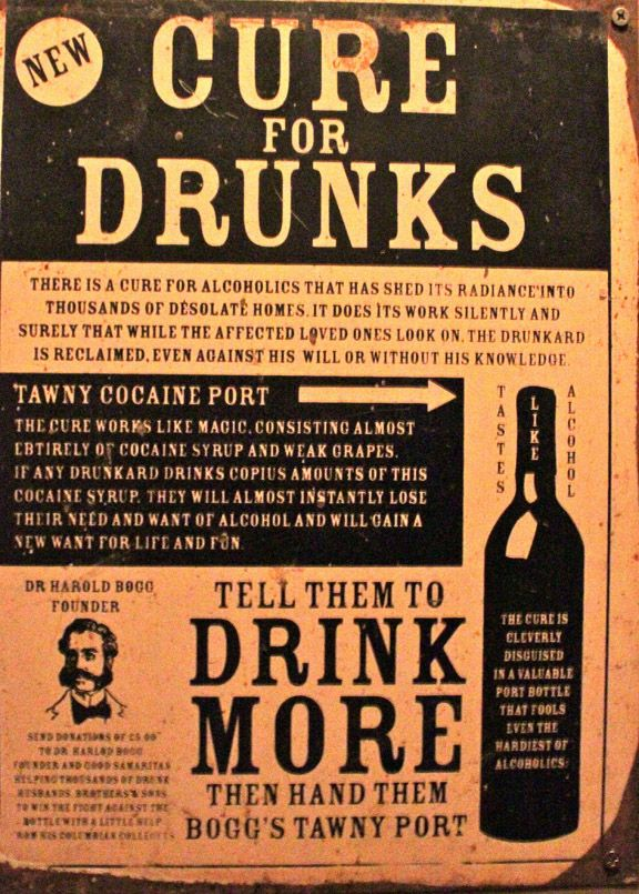 New Cure for Drunks – TAWNY COCAINE PORT wine, Dr. Harold Boggs, Founder
