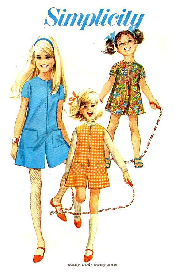 60s Little Girls' Pantdress  Pantjumper Sewing by KeepsakesStudio