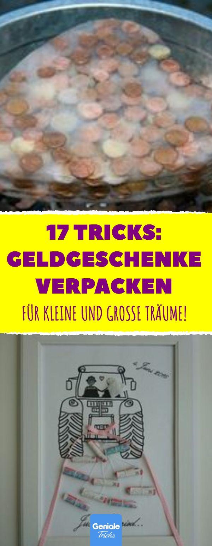 Geldgeschenke richtig verpackt: 17 Tricks #Geld schenken #Geldgeschenke #Hochzei…