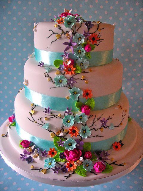 Summer Daze wedding cake~brights and soft pastels