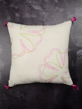 Ivory Flower Kantha Noil Flash Silk Cushion Cover With Tassel 15.6in x 15.6in