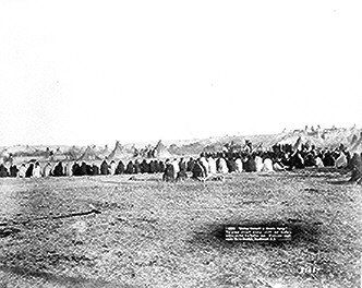 Council of Sioux chiefs and leaders that settled the Indian wars, Pine Ridge, South Dakota.  Photographed by John C. H. Grabill, 1891.