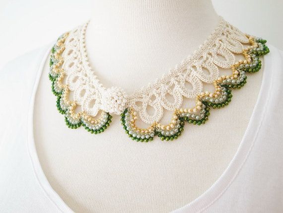 Crochet Lace Collar (Beaded Lace Collar I-b), ivory color, green color
