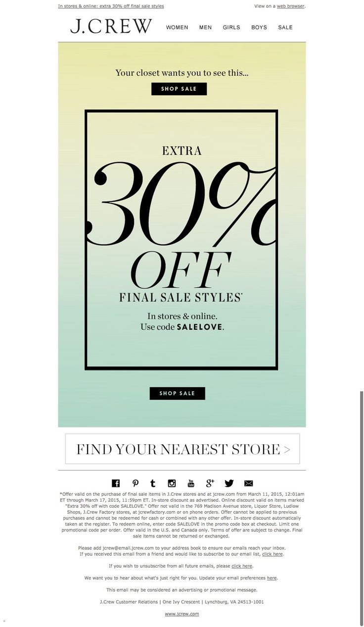 #newsletter J.Crew 03.2015 Starting right now: extra 30% off final sale styles (get there first)