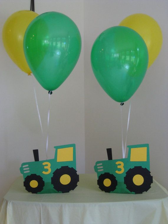 2 Tractor Balloon Holders Birthday Party by Hope2Create on Etsy