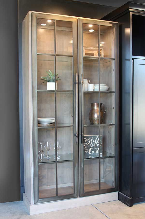 Gorgeous Cabinet With Stoll Metal Doors Glass Kitchen Cabinets