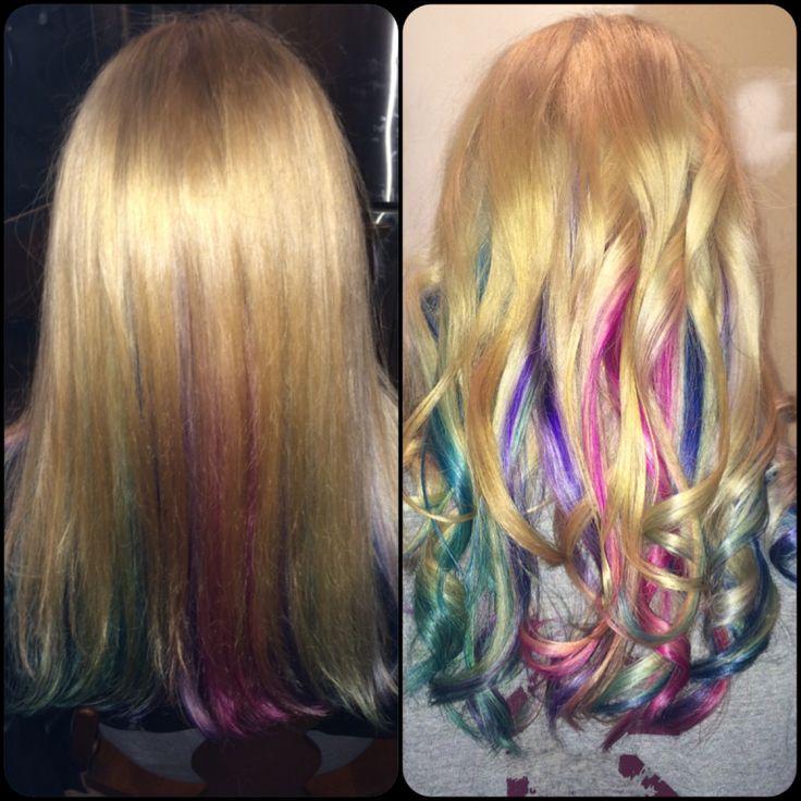 Peekaboo Rainbow Highlights Straight Vs Curly Hair