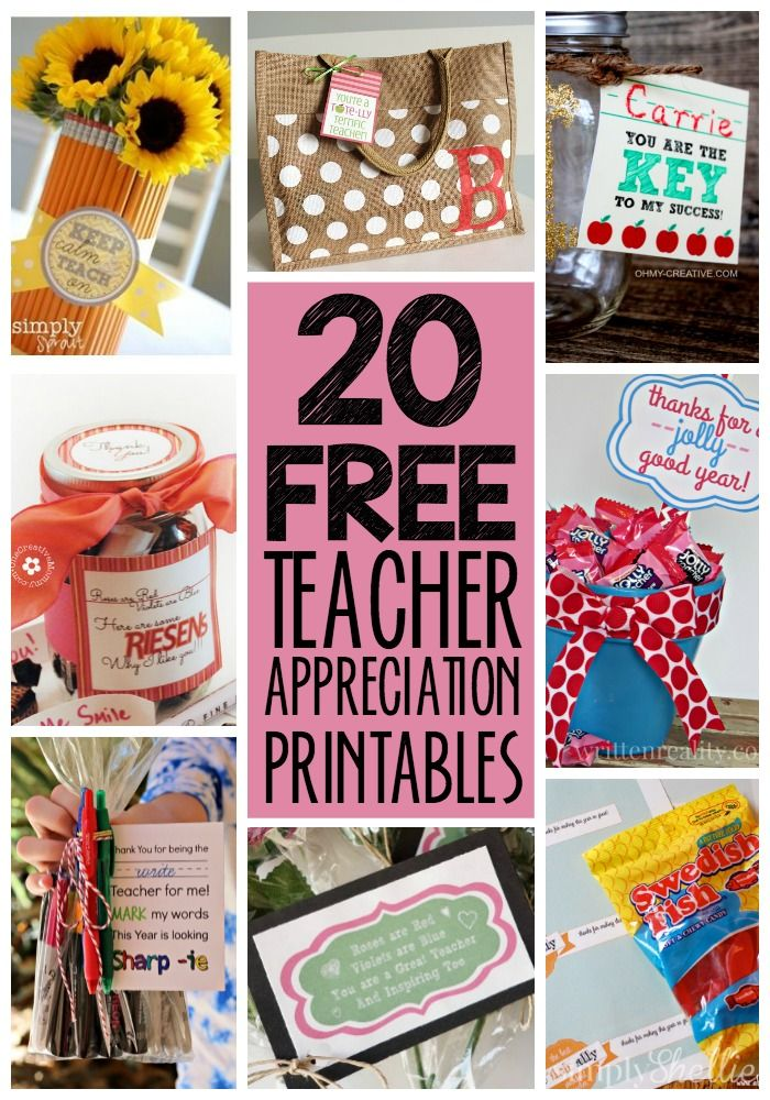 Treat your teachers right this year for Teacher Appreciation Week! Here are 20 different FREE Teacher Appreciation Printables to help you with little gifts ideas all week.
