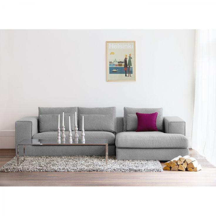 Ecksofa Columbia - Webstoff - Longchair/Ottomane davorstehend rechts - Stoff Valura Grau